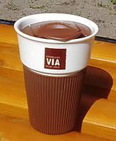 Керамическая чашка с крышкой и съемным чехлом VIA. Starbucks Коричневый, фото 1