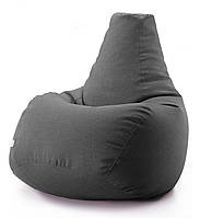 Кресло мешок груша микро-рогожка 90*130 см Темно серый
