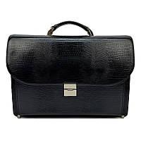 Мужской портфель кожаный Karya 0220-76 черный с тиснением
