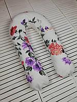 """Подушка для беременных, подушка обнимашка Подкова """"Цветущий сад"""""""