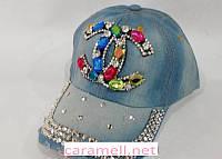 Бейсболка джинсовая Chanel цветные стразы
