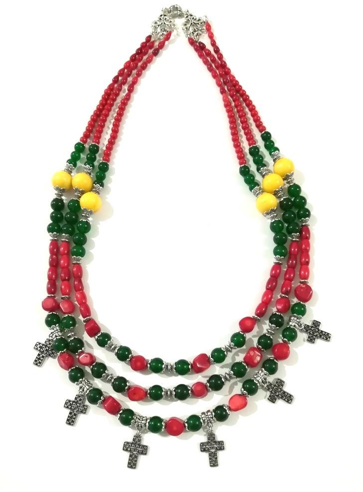 Намисто святкове Україночка - Коралл, Оникс, Хризопраз, натуральный камень, тм Satori \ Sk - 0126