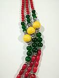 Намисто святкове Україночка - Коралл, Оникс, Хризопраз, натуральный камень, тм Satori \ Sk - 0126, фото 3