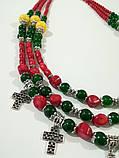 Намисто святкове Україночка - Коралл, Оникс, Хризопраз, натуральный камень, тм Satori \ Sk - 0126, фото 4