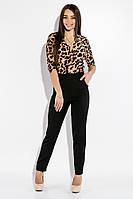 Стильный молодежный женский комбинезон с леопардовым верхом с запахом на груди и классическими черными брюками