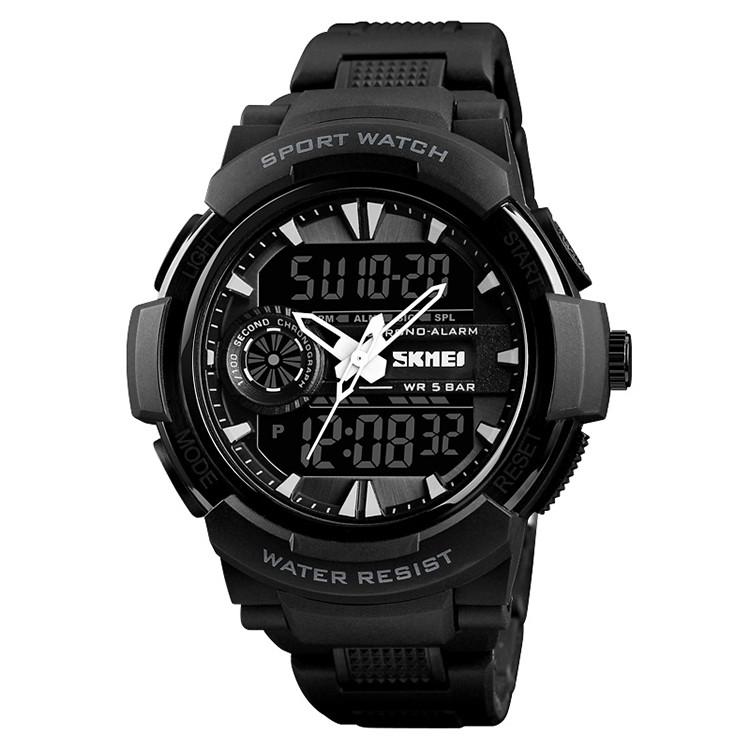 Skmei 1320 protect черные с белым мужские спортивные часы