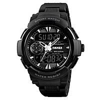 Skmei 1320 protect черные с белым мужские спортивные часы, фото 1