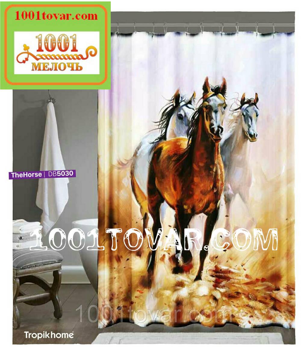 "Тканевая шторка для ванной комнаты из полиэстера ""Horses"" (Лошади) Tropik Home, размер 180х200 см., Турция"