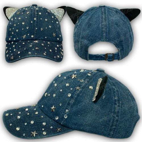 Джинсовая кепка с ушками и стразами