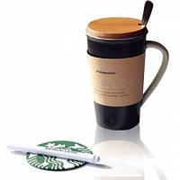 Керамическая чашка с крышкой Starbucks Memo с маркером и ложечкой