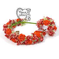 Набір Вінок троянди і браслет, вінок на весілля, вінок на випускний, вінок до вечірньої сукні