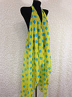 Шифоновая желто-голубая накидка для пляжа (цв.14)