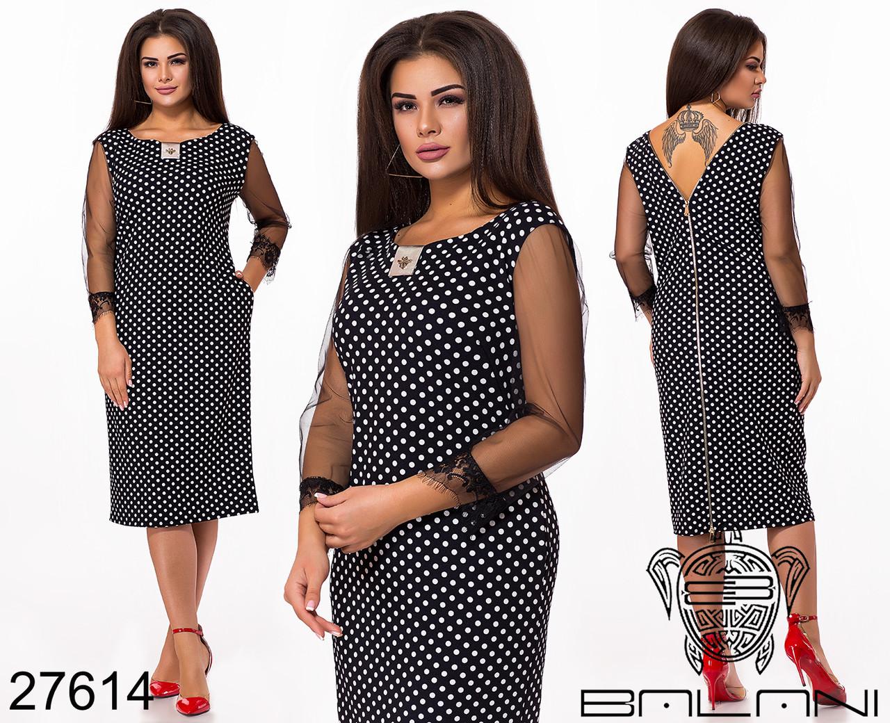 Грайливий чорне плаття в горошок з мереживами і блискавкою по спинці з 48 по 62 розмір