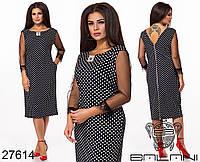 Игривое черное платье в горошек с кружевами и молнией по спинке с 48 по 62 размер, фото 1