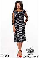 Грайливий чорне плаття в горошок з мереживами і блискавкою по спинці з 48 по 62 розмір, фото 2