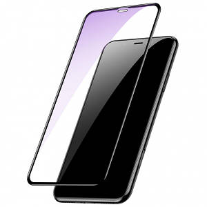 Baseus 0.2mm All-screen Arc-surface Anti-Blue Tempered Glass Film For iPhone XR/11 Black