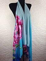 Красивая голубая пляжная шифоновая накидка на купальник (цв.1)