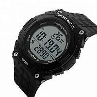 Skmei 1112 fitness чорні чоловічі спортивні годинник з крокоміром, фото 1