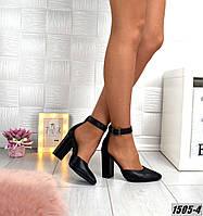 Кожаные женские туфли на каблуке, фото 1
