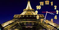 Часы настенные N 9 Эйфелева башня, 30х60 для кухни, гостиной, детской, спальни. Подарок