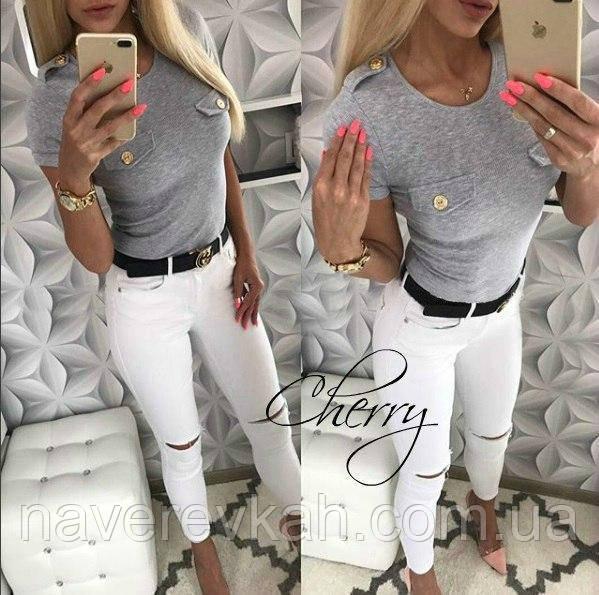 Женская летняя футболка, с вискозы белый, персик, серый 42-44