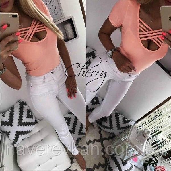 Женская летняя футболка Переплёт, с вискозы белый, персик, серый 42-44