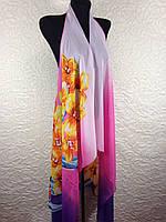 Женская шифоновая розовая пляжная накидка с цветочным рисунком (цв.5)