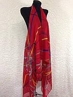 Шифоновая красная пляжная накидка на купальник с абстрактным рисунком (цв.8)
