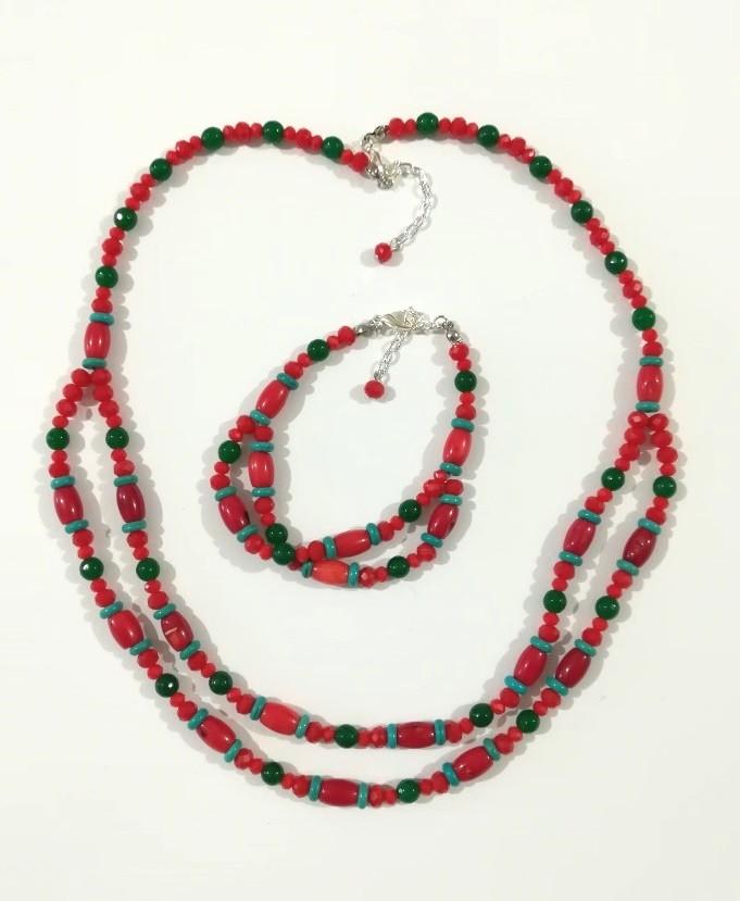 Колье + браслет -  украшения в украинском стиле, натуральный камень, тм Satori \ Sn - 0062