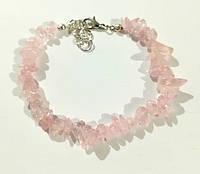 Браслет Розовый кварц крошка, натуральный камень, цвет розовый и его оттенки, тм Satori \ Sb - 0059