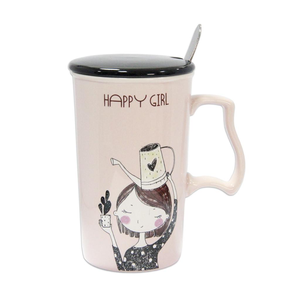"""Чашка фарфоровая с крышкой и ложкой """"Счастливая девочка"""" 375 мл. розовый"""