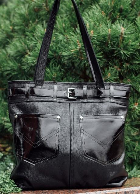 3b0c9bb42d84 Стильная женская сумка из натуральной чёрной кожи с накладными карманами:  ...