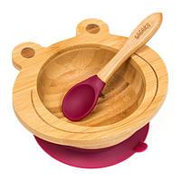 Набор детской посуды из бамбука на присоске Бабака, 250 мл. Сливовая - 140116