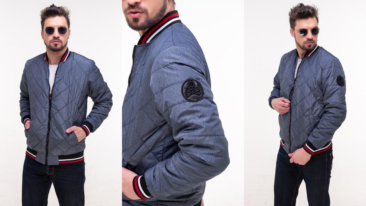 Молодіжна чоловіча куртка-бомбер з триколірними манжетами, стегана в ромбик