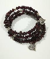 Браслет спираль из Граната , натуральный камень, цвет бордо и его оттенки, тм Satori \ Sb - 0283