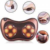 Массажная подушка подголовник Massage pillow for home and car, 8 роликов/ розетка, прикуриватель