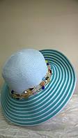 Шляпа  из рисовой соломки украшенная цветными  бусами