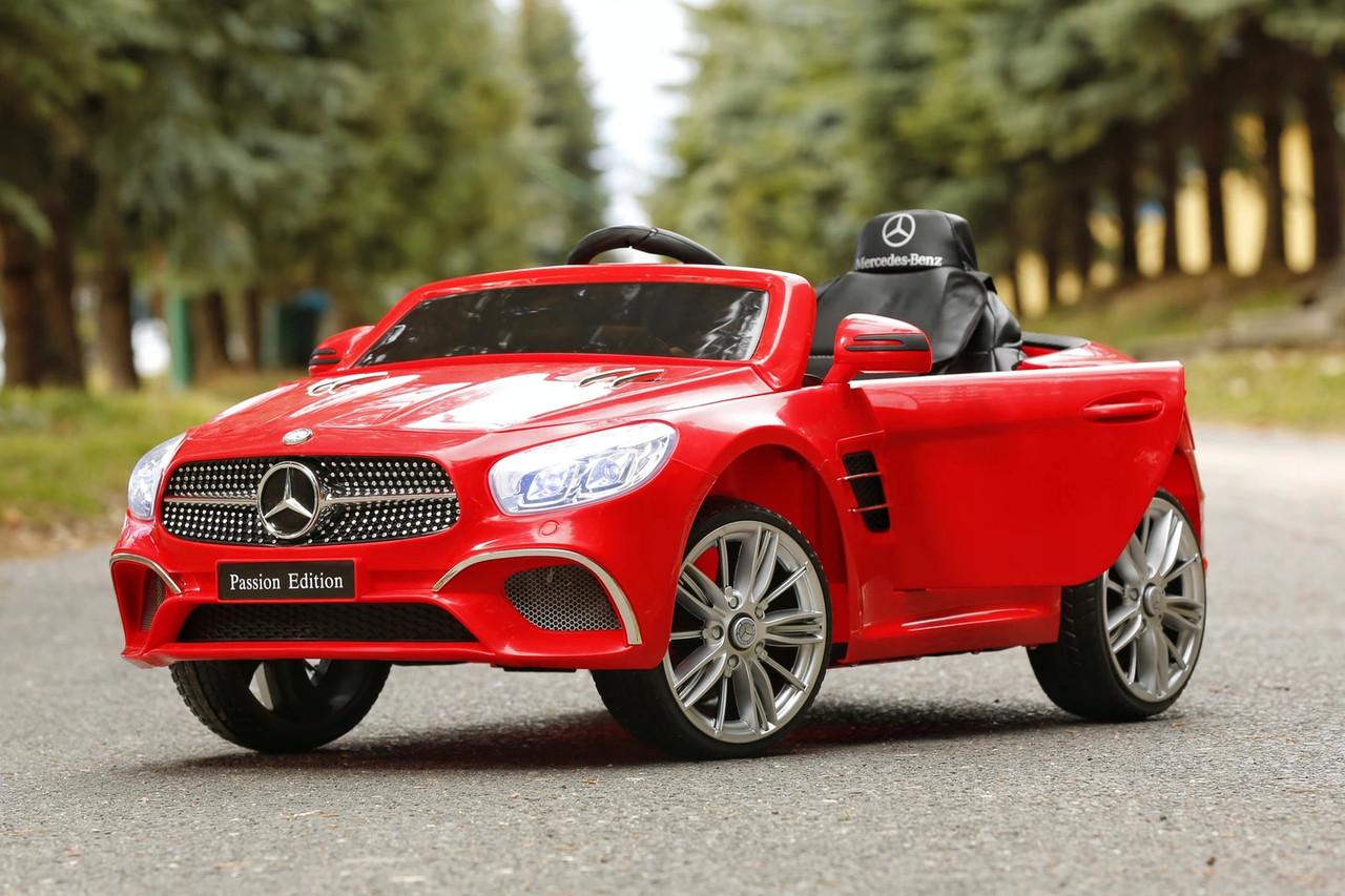 Детский электромобиль Mercedes SL400 красный + резиновые EVA колеса + кожа сидение + 2 мотора по 45 Ватт