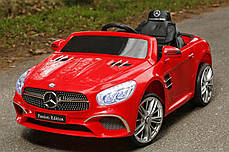 Детский электромобиль Mercedes SL400 красный + резиновые EVA колеса + кожа сидение + 2 мотора по 45 Ватт, фото 2