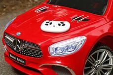 Детский электромобиль Mercedes SL400 красный + резиновые EVA колеса + кожа сидение + 2 мотора по 45 Ватт, фото 3