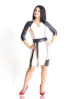 Женское платье с рукавами из эко-кожи