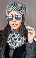 Модный молодежный комплект шапка и хомут