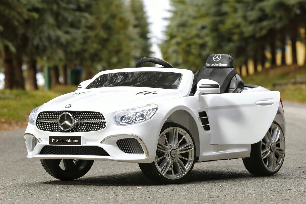 Детский электромобиль Mercedes SL400 белый + резиновые EVA колеса + кожа сидение + 2 мотора по 45 Ватт