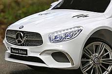 Детский электромобиль Mercedes SL400 белый + резиновые EVA колеса + кожа сидение + 2 мотора по 45 Ватт, фото 2