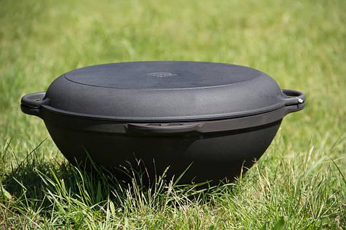 Казан чавунний азіатський 12л з кришкою-сковорідкою, d 400мм, фото 2