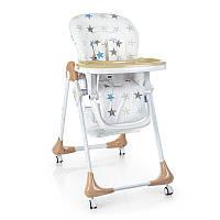 Стульчик Kronos Toys M 3233-21 для кормления 5 точ. ремни столик выдвижной 4 колеса Звезды Беж (int_M 3233-21)