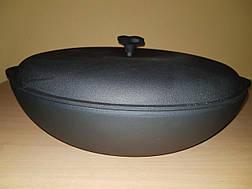 Чугунная сковорода жаровня с чугунной крышкой, d 500мм, фото 3