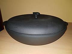 Чугунная сковорода жаровня с чугунной крышкой, d 500мм, фото 2