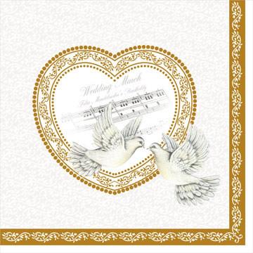 Декупажная салфетка Свадебное сердце 3493