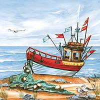 Салфетка декупажная рыболовный кораблик 5903